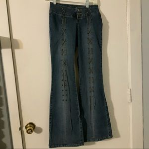 Flare lace grommet jeans ANGELS sz 1 juniors